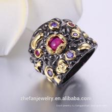 Женские кольца известных продуктов в черное золото двухцветного металлизации изделий