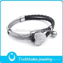 Hot moda china fábrica 316l pulseira de aço inoxidável jóias de couro pulseira pulseira inteligente