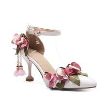 Kitten Heel Bridesmaid Shoes Pointy-Toe Ankle Buckle Floral Pendants Women Pumps Shoes