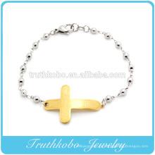 De alta qualidade glamour religiosa dos homens de aço inoxidável jóias padrão ouro bíblia charme contas pulseiras