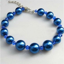 Goods high definition for Chain Link Bracelet Custom Blue Pearl beaded Bracelet export to Greenland Factory