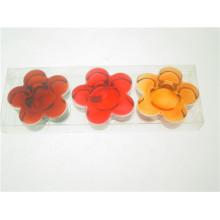 Claro en forma de flor titular de vidrio tealight wtih caja de PVC para el otoño (DGH8.6-8-3)