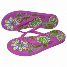 Elastic EVA wedge flip-flop for ladies, with slim PVC strap and durable printing, sized 35-41#