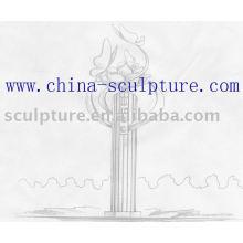 Sculpture en jardin en acier inoxydable vue 3D sculpture