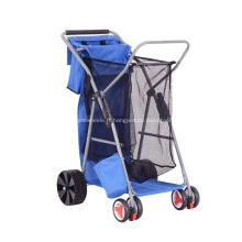 Chariot pliant de chariot de plage de roulement de pêche durable avec le sac d'emballage