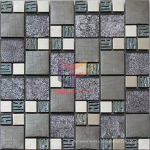 Gold Leaf Crystal with 304 Stainless Steel Mosaic Tile (CFM926)