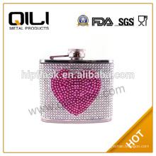 Transparent box packaging diamond luxury hip flask