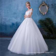 Classic off shoulder appliqued wedding dress bridal gown HA153