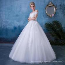 Clássico fora do ombro appliqued vestido de noiva vestido de noiva HA153
