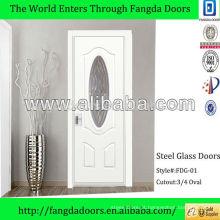 Design de porta de entrada principal 3/4 de inserção de vidro oval