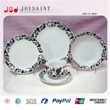 Nuevo diseño de la fábrica redonda círculo de color 12pcs porcelana dinnerset 12 PCS vajilla de cerámica conjunto