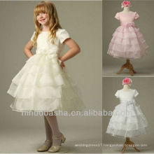 Scoop Tiered Bow Handmade Flower Short Sleeves Tea Length Ball Gown Flower Girl Dress