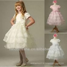 Scoop Tiered Bow Handmade Flower Manga Curta Tecido Comprimento Ball Gown Flower Girl Dress