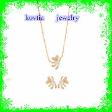 2016 Art und Weisekristallbärenhalskette Gold überzog Halskettenschmucksachesatz 925 Sterlingsilberhalskettensatz