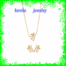 2016 fashion crystal bear necklace gold plated necklace jewelry set 925 sterling silver necklace set