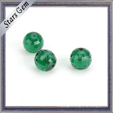 Colunbia Emerald Green Round Checker Cut Glass Beads