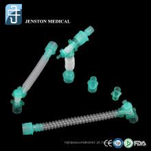 Tubo de extensão do circuito respiratório cirúrgico médico