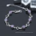 Women′s 925 Sterling Silver Purple Diamond Heart-Shaped Bracelet