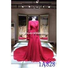 Китай оптовой фабрики платья венчания bridal 2016 реальная картина элегантный Красный складки плетения кружева длинный хвост платье вечернее платье