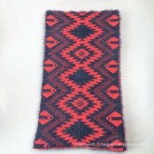 Écharpe lourde en tricot à fils de plumes à carreaux d'hiver (SK177)