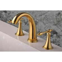 Robinet de bain de salle de bain monté sur pont plaqué or 3 PCS (Q30213G)