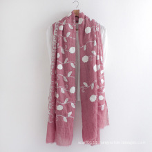 Floral Embroidered Fashion Cotton Voile Lady Scarf (YKY1155)