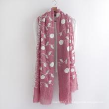 Цветочный вышитые хлопок вуаль Леди шарф (YKY1155)
