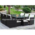6 pessoas jantar Cube Rattan conjunto de mobiliário exterior