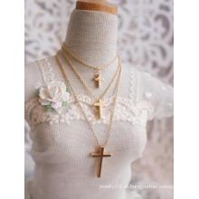 Colar Cruz de Ouro / Prata BJD para boneca articulada SD / MSD / YSD