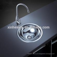 SUS 304 de aço inoxidável pequeno único lavatório redondo