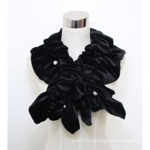 Damenmode Polyester Samt Schal mit Perlen (YKY4384B)