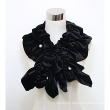 Women Fashion Polyester Velvet Scarf with Pearls (YKY4384B)