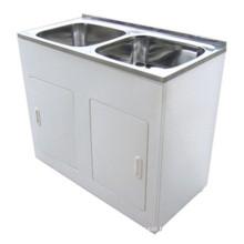 Bathroom White Double Sinks Laundry Tub (1160B)