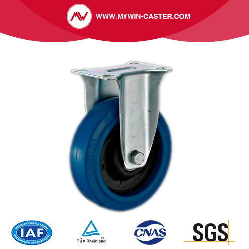 Plate Fixed Blue Elastic Rubber Caster