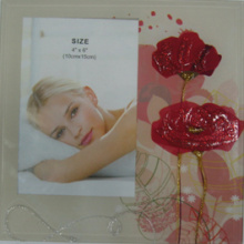Red Flower Glass Photo Frame