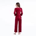 Silk Pajamas Two Piece Set 3/4Long Sleeve Sleepwear