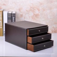 Caja de almacenamiento de cuero marrón de calidad con cajones