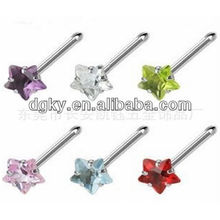 Straight pole stainless steel nose rings body piercing with zircon