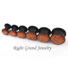 Acrylique noir piercing bijoux paillettes intérieurement fileté bouchon d'oreille