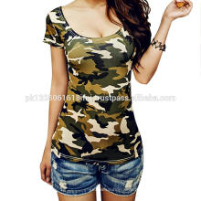 camo print military army women and girls tops t shirt