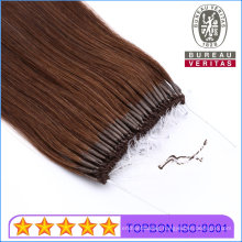 """18"""" Brown 6# Color Straight Human Virgin Remy Hair Extensions Easy Pull Knot Thread Hair"""
