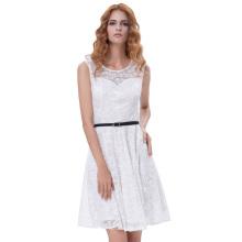 Grace Karin Mujer sin mangas Cuello cuello de encaje Floral A-Line vestido blanco con cinturón negro CL010422-2