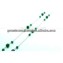 Pequeña cadena rebordeada redonda del Onyx verde, joyería al por mayor del bisel de la piedra preciosa