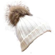 Estilo clásico al por mayor Unisex lana Knit Beanie Hat con piel de mapache POM Poms