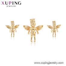 65008 xuping mais recente moda ângulo asa imitação pingente brinco conjunto de jóias
