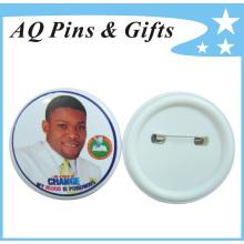 Insignia del botón del tiempo de producción rápida con el respaldo plástico (botón badge-045)