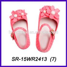 Роза цветок дизайн новых детей сандалии пляж пластиковые сандалии летом сандалии 2015