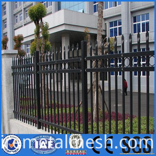Black wire mesh fence