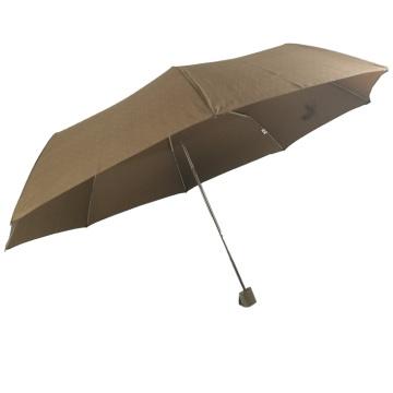 Werbe 3 faltender extra großer manueller offener brauner Punkt günstiger Regenschirm