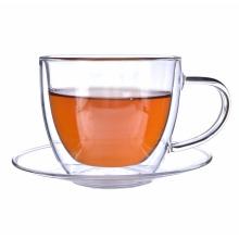 Tazas de té de cristal promocionales calientes de la venta del regalo de la Navidad de la pared doble para el café del té Espresso Latte